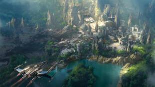 """Dessin d'artiste du projet de l'univers """"Star Wars"""" à Disney World."""