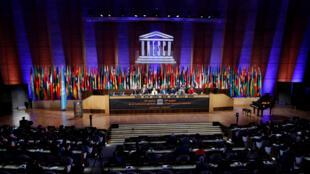Le siège de l'Unesco à Paris, lors de la Conférence générale, en octobre2017.