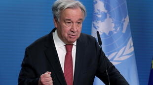 UN Secretary-General Antonio Guterres addresses the media during a joint news conference with German Foreign Minister Heiko Maas after a meeting in Berlin, Germany, December 17, 2020.