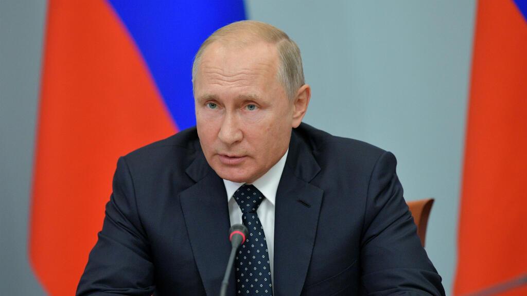 El presidente de Rusia, Vladimir Putin, preside una reunión gubernamental sobre cuestiones sociales y económicas, incluido el sistema de pensiones, en la ciudad siberiana de Omsk, Rusia, el 28 de agosto de 2018.