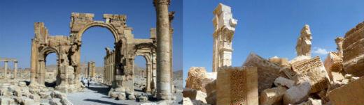 En octobre 2015, les jihadistes de l'EI ont dynamité l'Arc de Triomphe, vieux de 2 000 ans. (À gauche, le vieux monument photographié en mars 2014, à droite, le même monument, en mars 2016).