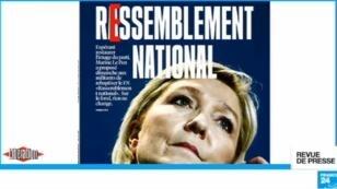 """""""Ressemblement national"""", ironise Libération en Une de son édition du lundi 12 mars."""