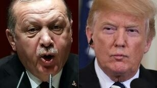 Turkish President Recep Tayyip Erdogan (L) and US President Donald Trump have exchanged threats over the future of Washington's Kurdish allies in Syria