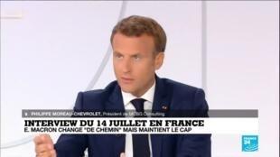 """2020-07-14 16:01 Interview du 14 juillet : Emmanuel Macron change """"de chemin"""" mais maintient le cap"""