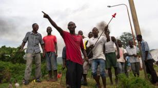 Protestors in the neighbourhood of Musaga, in Burundi's capital Bujumbura.