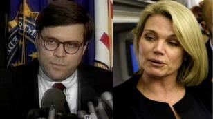 El ex fiscal general William Barr (Izquierda) y la portevoz del Departamento de Estado de EE. UU., Heather Nauert (derecha).