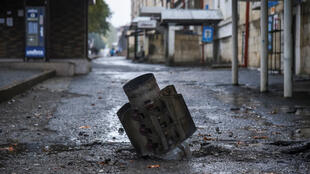 A rocket case on a street in the regional capital Stepanakert, on October 5, 2020, after recent shelling during a military conflict over the breakaway region of Nagorno-Karabakh.