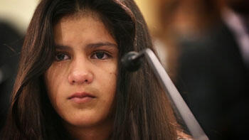 Mayeli Hernandez, 12, testifies to Congress about fleeing from Honduras. (AFP)
