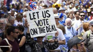 Des manifestants à Londres, le 23 juin 2018, demandent la tenue d'un nouveau référendum sur le Brexit.