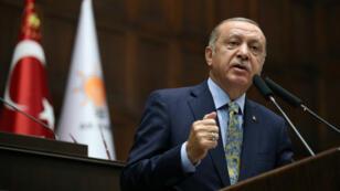 Le président turc Recep Tayyip Erdogan, lors d'un meeting à Ankara, le 16octobre2018.