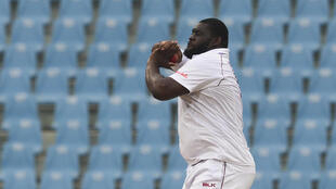 Spin to win? West Indies off-spinner Rahkeem Cornwall, in action against Afghanistan in November, could be selected for Friday's third Test against England at Old Trafford    delivers a ball during the third day of the only cricket Test match between Afghanistan and West Indies at the Ekana Cricket Stadium in Lucknow on November 29, 2019.
