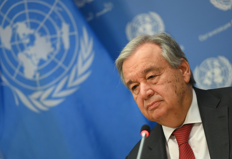 Le secrétaire général des Nations unies, Antonio Guterres, lors d'un point de presse au siège de l'ONU, le 4 février 2020 à New York.