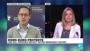 "2019-11-25 21:03 Andreas Fulda on France 24: ""Local Hong Kong election: a humiliating defeat for the pro-Beijing camp"""