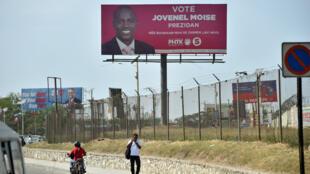 Une affiche de Jovenel Moise, unique candidat du deuxième tour de l'élection présidentielle haïtienne