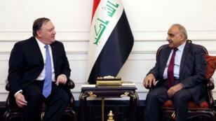 El primer ministro de Irak, Adel Abdul Mahdi, se reúne con el secretario de Estado de EE. UU., Mike Pompeo, en Bagdad, Irak, el 7 de mayo de 2019.