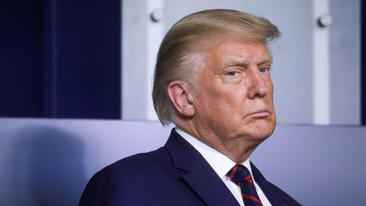 El presidente de Estados Unidos, Donald Trump, durante una conferencia de prensa en la Casa Blanca. Washington, Estados Unidos, el 4 de septiembre de 2020.