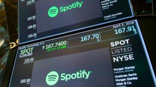 Una foto de archivo de la acción de Spotify en la Bolsa de Nueva York, el 3 de abril de 2018.