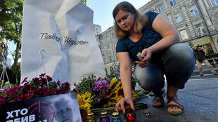 A memorial to journalist Pavel Sheremet on the site where his car exploded in July 2016.