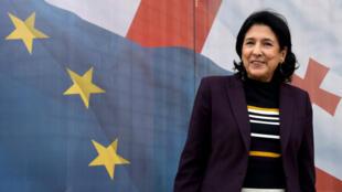 Salomé Zourabichvili, la candidate du parti au pouvoir et ex-ambassadrice française, à Tbilissi le 9novembre2018.