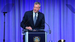 Le maire de New York, Bill de Blasio, au gala de la Fondation de la police de New York, le 17 mai 2018.