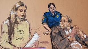 Harvey Weinstein watches as Jessica Mann makes a statement during the sentencing following his conviction on sexual assault and rape charges in New York City, New York, USA, March 11, 2020, in this courtroom sketch.