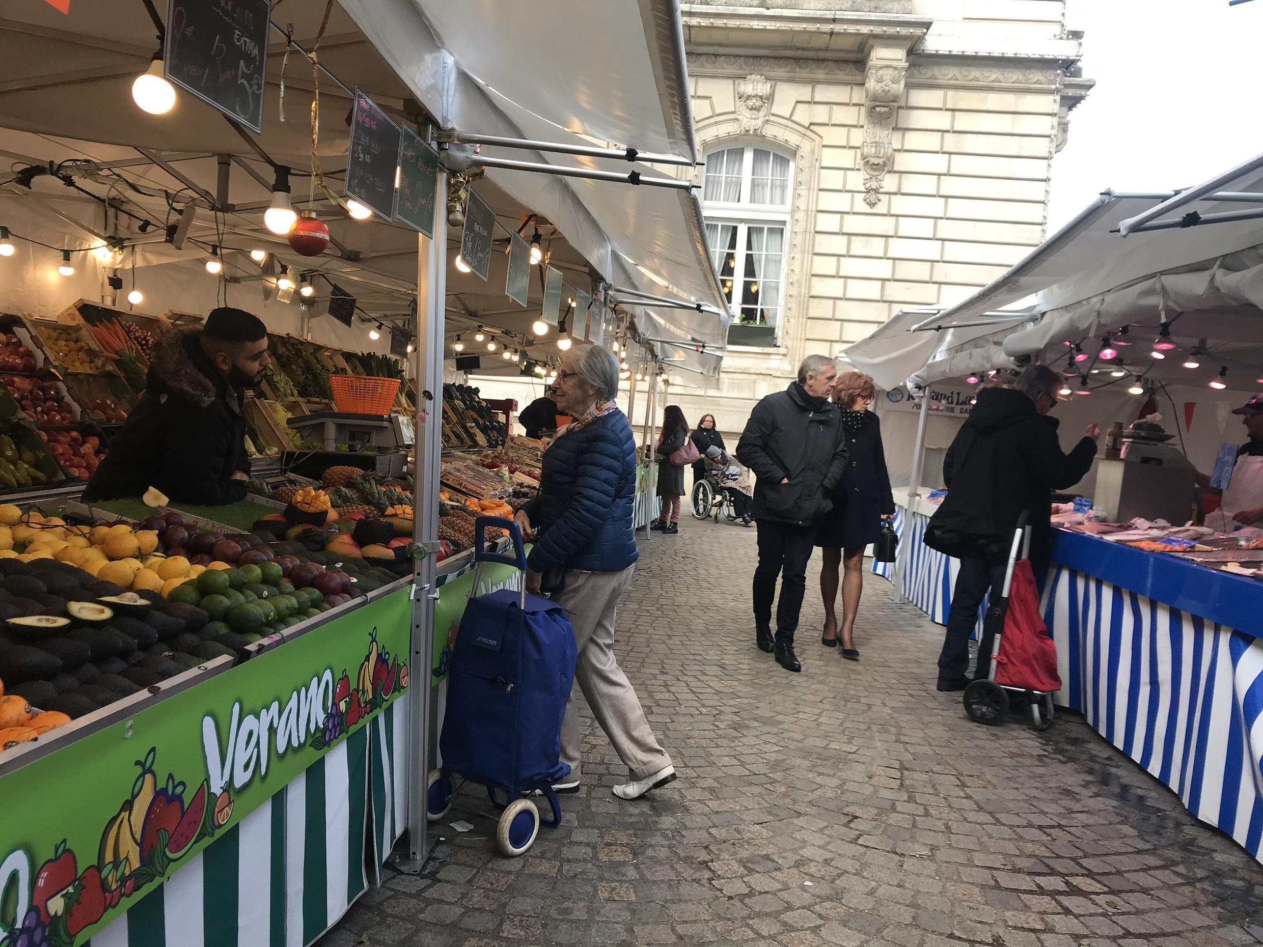 The Friday farmers market in the upscale town of Levallois-Perret, west of Paris.