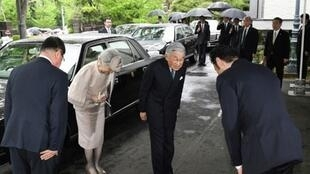 إمبراطور اليابان أكيهيتو وزوجته ميشيكو في طوكيو. 26 أبريل/نيسان 2019.