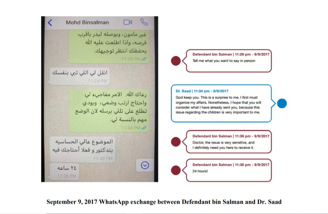 WhatsApp exchange in a lawsuit filed by Saad Aljabry at the US District Court for the District of Columbia