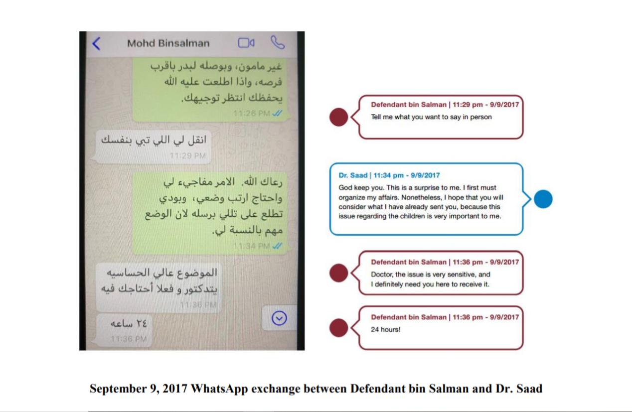 Conversation Whatsapp entre Mohammed ben Salman et Saad Aljabri apparaissant dans l'acte d'accusation déposé par ce dernier devant le tribunal de district des États-Unis pour le district de Columbia.