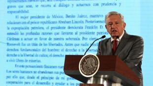 El presidente de México, Andrés Manuel López Obrador, durante una de sus conferencias matutinas en el Palacio Nacional de Ciudad de México el 31 de mayo de 2019.