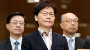 رئيسة الحكومة في هونغ كونغ كاري لام خلال مؤتمر صحفي. 5 أغسطس/ آب