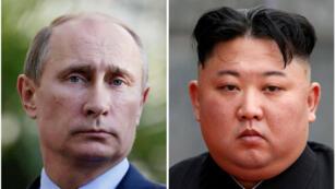 Achivo: una combinación de fotos de archivo del líder norcoreano Kim Jong-un y del presidente de Rusia, Vladimir Putin.