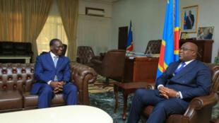 Sylvestre Ilunga Ilunkamba et Félix Tshisekedi, le 20 mai 2019, à Kinshasa.