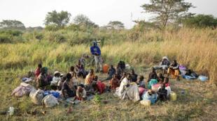 Un groupe de réfugiés sud-soudanais ayant franchi la frontière congolaise, le 23 décembre 2017.