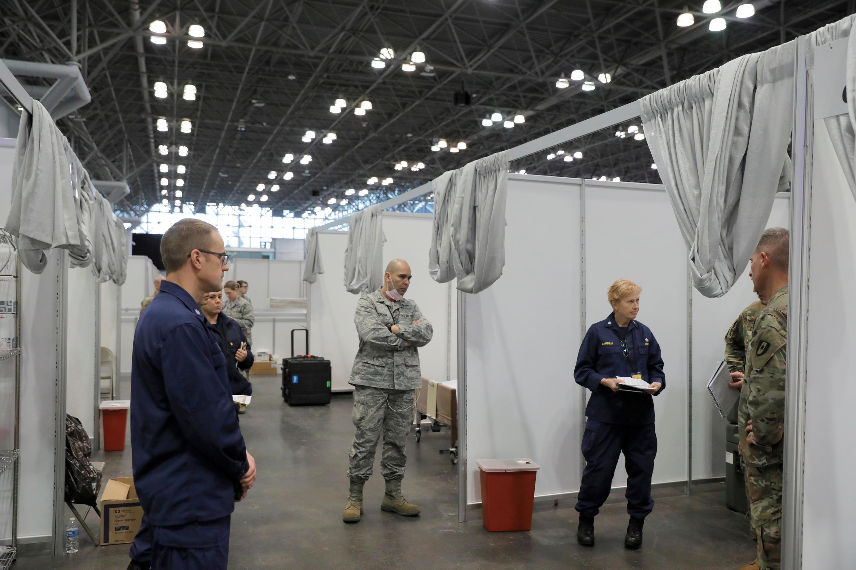 Une station médicale de l'armée américaine à New York.