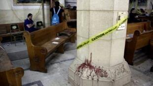 آثار دماء عقب التفجير في كنيسة مار جرجس في طنطا في 9 نيسان/أبريل 2017