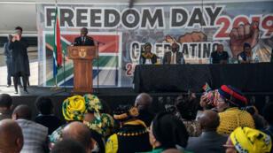 """Le président sud-africain Cyril Ramaphosa a prononcé un discours pour le """"Freedom's day"""" qui marque les 25 ans de la fin de l'apartheid."""