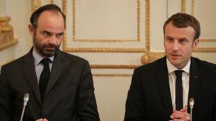 Édouard Philippe et Emmanuel Macron à Paris, le 30octobre2017.