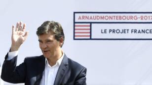 """Arnaud Montebourg a confirmé sa candidature à l'élection présidentielle de 2017 lors de la """"fête de la rose"""" à  Frangy-en-Bresse, le 21 août 2016."""
