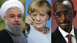 Le président iranien Hassan Rohani, la chancelière allemande Angela Merkel et le président rwandais Paul Kagamé.