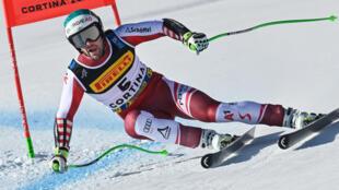 L'Autrichien Vincent Kriechmayer, lors du Super-G aux Championnats du monde, le 11 février 2021 à Cortina d'Ampezzo