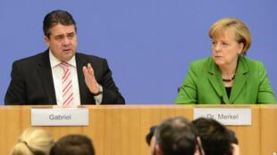 Sigmar Gabriel et Angela Merkel.