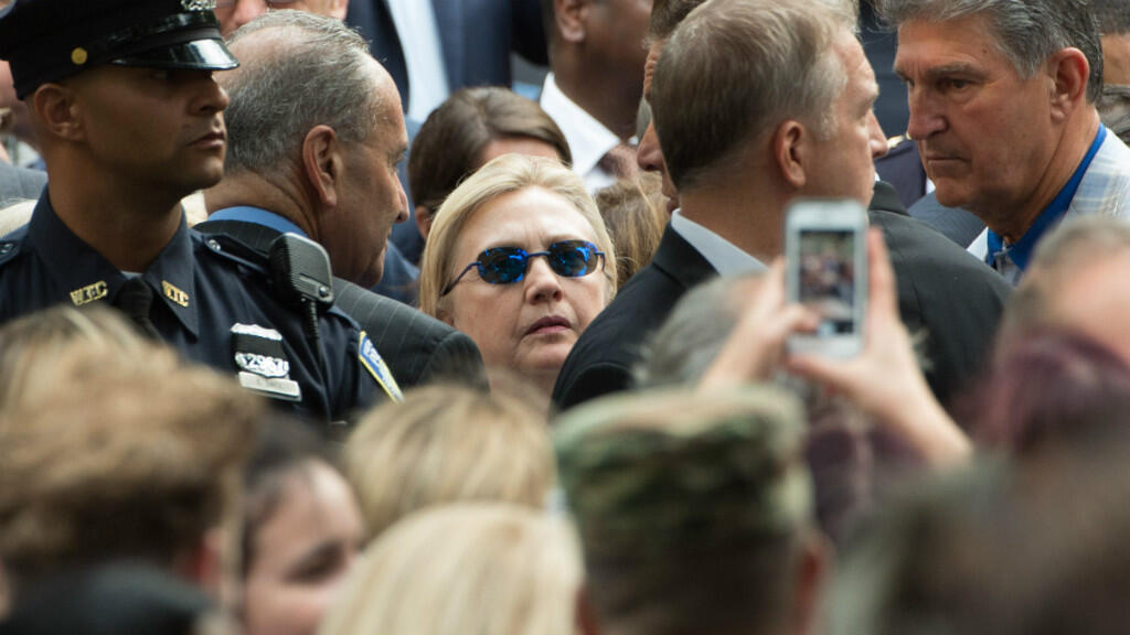 JUSTIN SULLIVAN / GETTY IMAGES NORTH AMERICA / AFP   Democratic presidental nominee Hillary Clinton attends the September 11 Commemoration Ceremony at the National September 11 Memorial & Museum on September 11, 2016 in New York City.