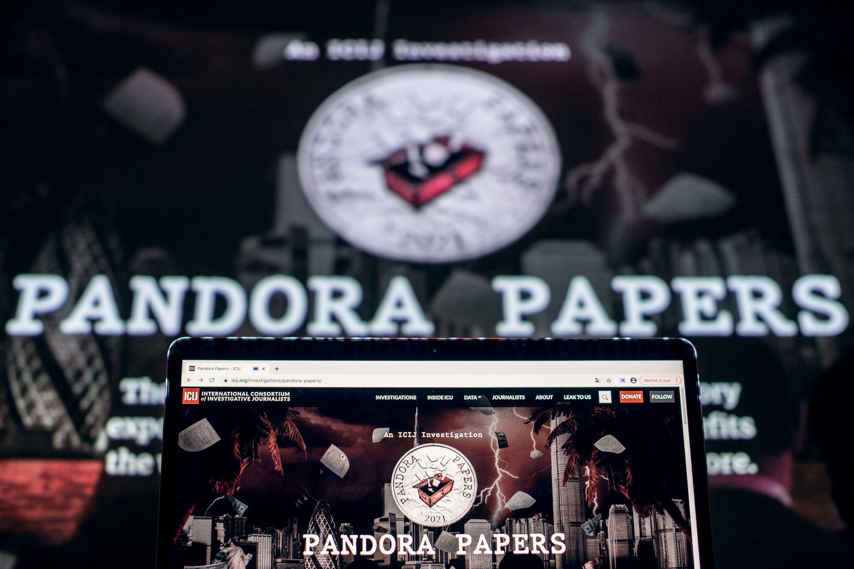 """El logo de los """"Pandora Papers"""" en Francia el 4 de octubre de 2021"""