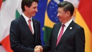 Le Premier ministre canadien Justin Trudeau et le président chinois Xi Jinping au G20 le 4 septembre 2016 à Hangzhou