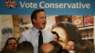 Le Premier ministre britannique David Cameron lors d'un meeting de campagne, le 27 avril 2015 à Londres.