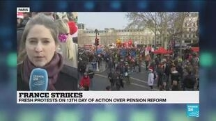 2019-12-17 13:31 French pension protests on Tuesday will be a 'litmus test', France 24's Valérie Dekimpe reports