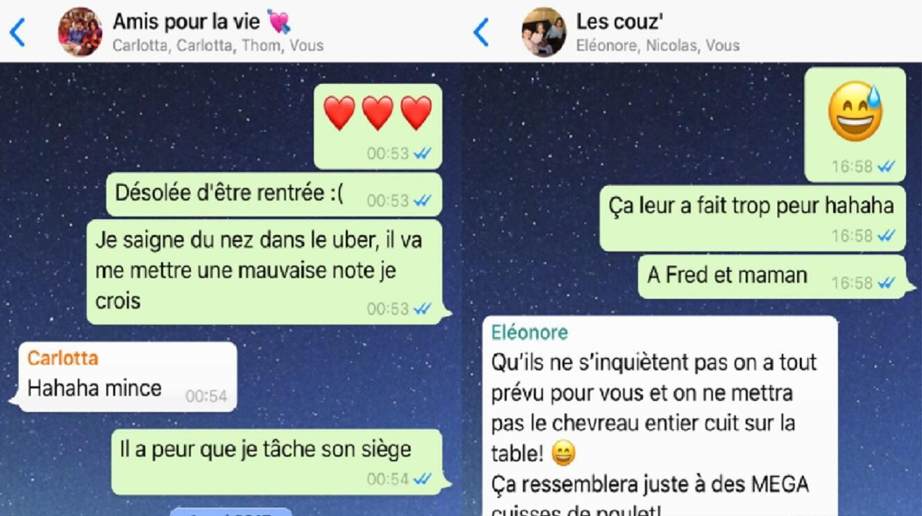 Captures de passionnantes conversations de groupe sur WhatsApp.