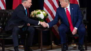 Poland's President Andrzej Duda, pictured with US President Donald Trump on the sidelines of the UN General Assembly last year, has developed a close rapport with the Trump administration.