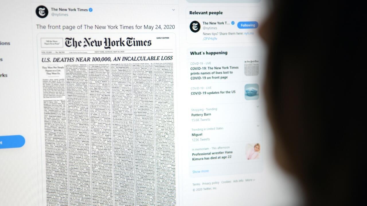 The New York Times dedicó su portada del 24 de mayo de 2020 a las víctimas del Covid-19 en Estados Unidos.